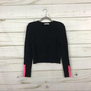 Zara Knit Solid Black with Pink Stripe Sweater